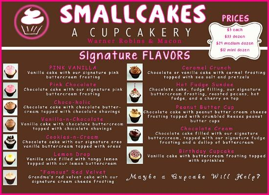 Small Cakes Cupcakery Menu