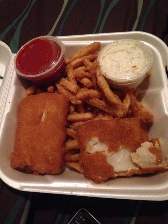Fish and chips.. Low quality frozen square patties of garbage. Other food ordered was disgusting ...