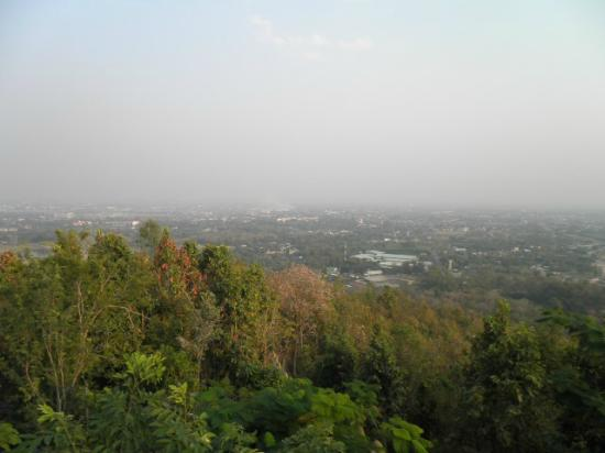 View ovewr Chiang Mai - smokey from rice field burning ...