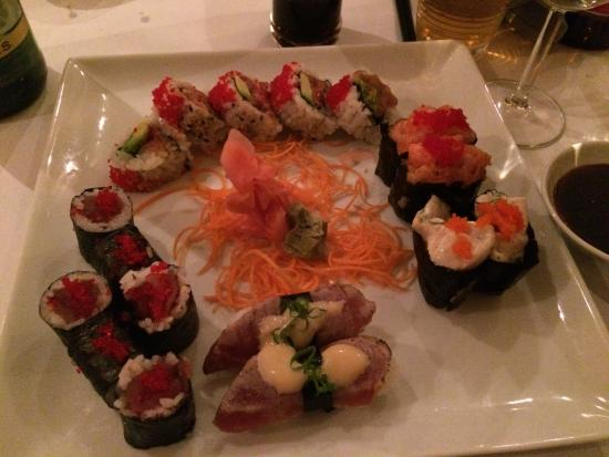 Spicy tuna maki roll, spicy scallop nigiri, spicy salmon ...