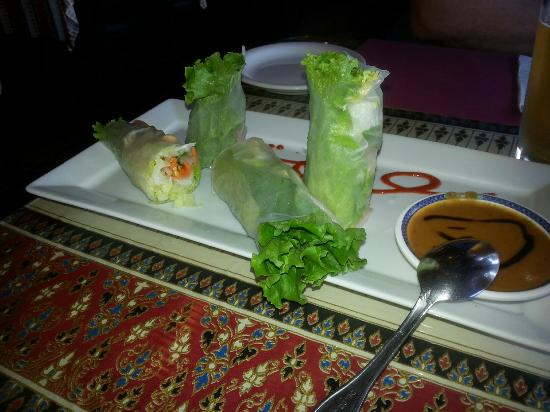 Tofu salad rolls w peanut sauce picture of m p for Authentic thai cuisine
