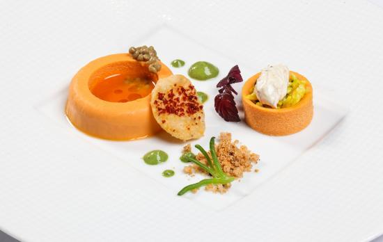 "... Vineet at Mandarin Oriental, Geneva: Salmon Panna Cotta, crab ""chaat"