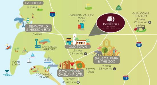 Map of San Diego, CA Hotels | HotelGuides.com