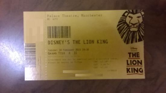 The Lion King Ticket Palace Theatre Manchester Picture