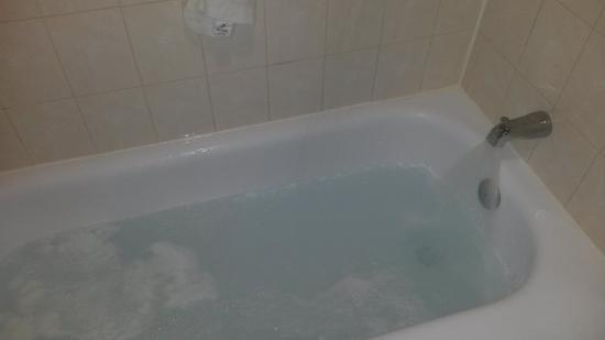Bathtub filled with water from my shower this was supposed to have been fixed picture of