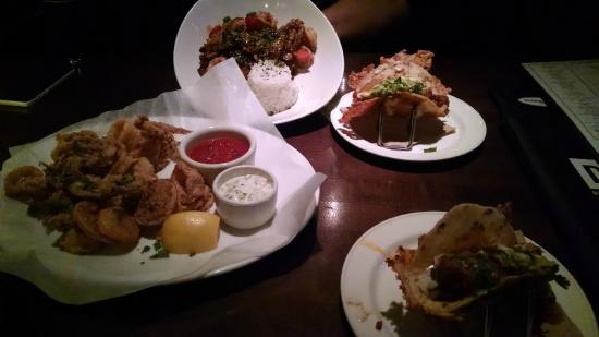 Appetizers During Happy Hour Vampire Tacos Crab Cakes