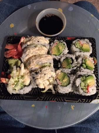 California and boston rolls takeout very good and fresh for Akina japanese cuisine