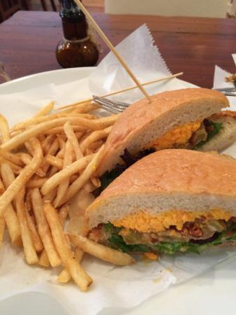 Fried green tomato and pimento cheese sandwich with truffle parmesan ...