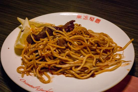 """My own """"live cooking"""" dish, Noodles with Kangaroo meat in soy/BBQ ..."""