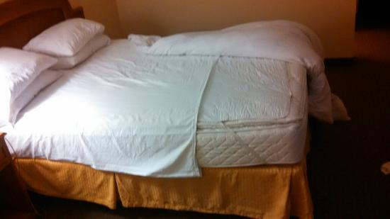 Twin bottom sheet used on queen beds crossways Exposed