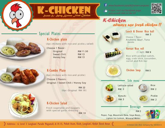 K Chicken Langkawi K-Chicken Menu