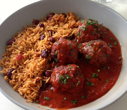 ... Portrait Galley cafe: waygu beef balls, tomato sauce and mexican rice