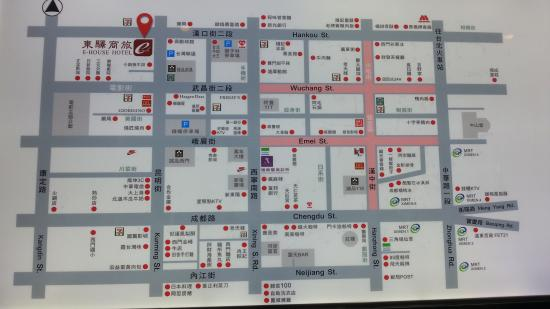 Handy map at the hotel lobby picture of e house hotel for Design hotel ximending