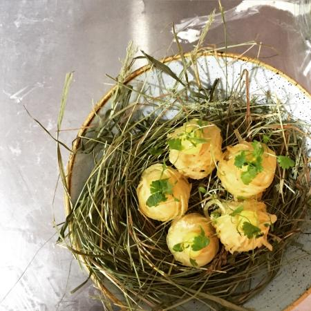 Crispy quail egg canap s picture of the cross keys for Quail egg canape