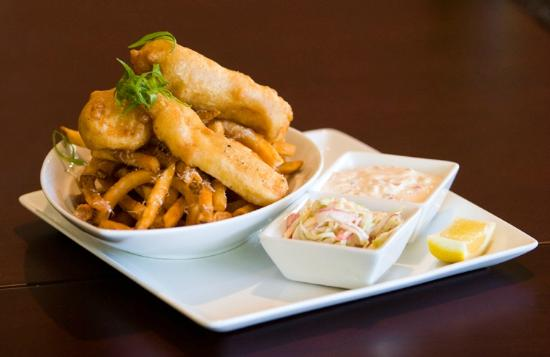 Fish and chips picture of district american kitchen for Oak city fish and chips