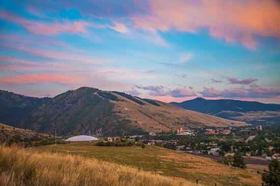 Missoula, MT: A view of Mount Sentinel at sunset from Waterworks Hill