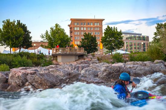 A surfer on Brennan's Wave in Downtown Missoula