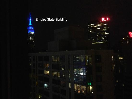View Of The Empire State Building At Night From Hotel Room