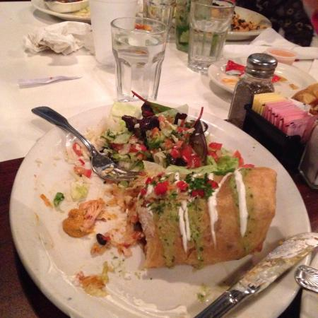 Sin Fronteras Cafe: Burrito, Chimichanga with fresh Mexican salad.