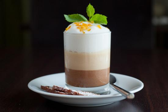 cream, chocolate mousse, lemon and cardamom foam with candied orange ...