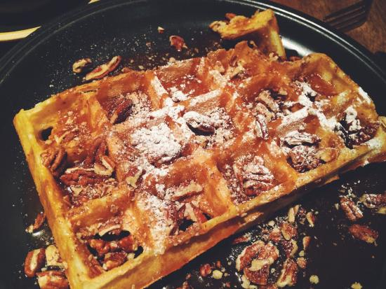Mushrooms ham and cheese sauce on a waffle - Picture of ...