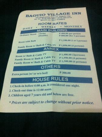 Baguio Village Inn Room Rates