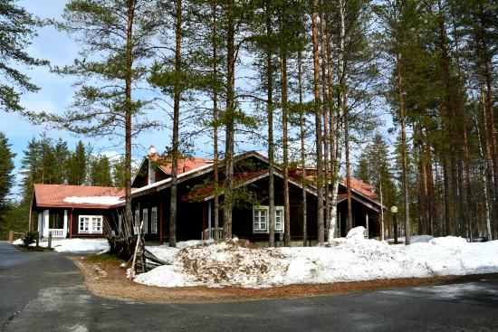 Rautavaara, Finland: View on one of the houses. On the right side, there is a basketball court and climbing wall hidd