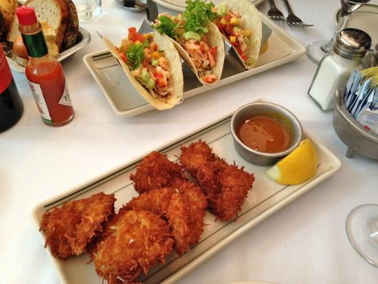 Shrimps coconut and Lobster Tacos - Picture of Joe's Stone Crab, Miami ...