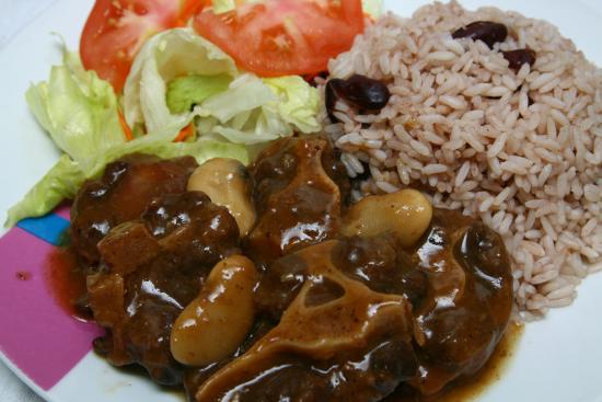Stew Chicken with rice & peas and homemade coleslaw - Picture of ...