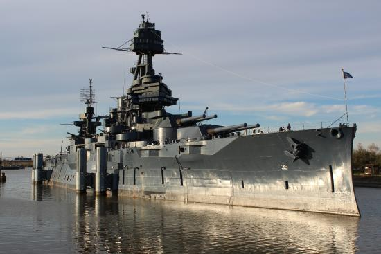 Front side of the uss texas for Attractions in la porte tx