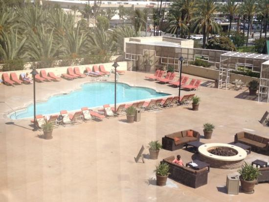 Spacious pool deck viewed from room for Garden grove pool
