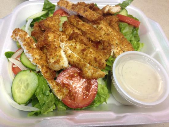 Planet Pizza NSB: Crispy Romano chicken salad with Parmesan peppercorn ...