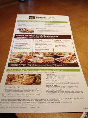 image about Olive Garden Printable Menu known as OLIVE Backyard LUNCH MENU - Markus Ansara