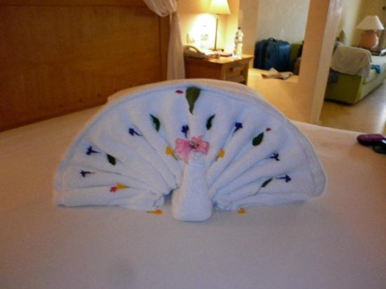 The Makadi Palace Hotel: Towel art in the room
