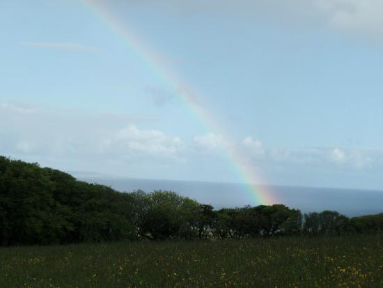 Ballinalacken Castle Country House: View from the hotel of rainbow over the ocean