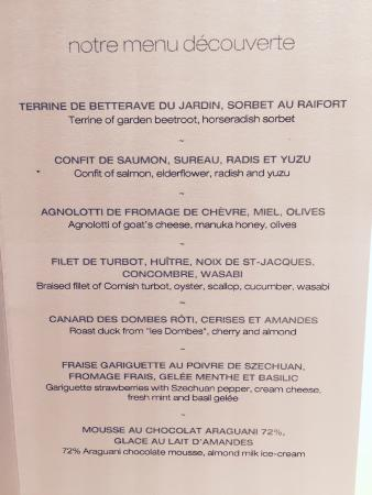Menu for le manoir aux quat saisons