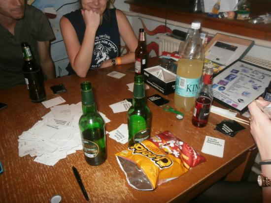 The Loft Hostel Budapest: Cards Against Humanity in the kitchen