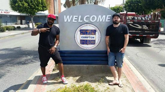 Hodari and I at the Welcome to Compton sign. - Picture of ...