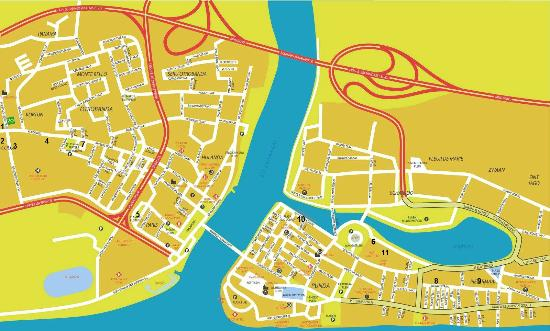 Poppy Hostel Curacao: Map of Willemstad (Poppy Hostel is on the extreme left)
