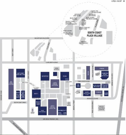 Area Map Picture Of South Coast Plaza Costa Mesa