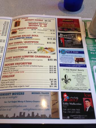 Menu page 2 picture of grumpy white 39 s restaurant for Grumpy s fishing report