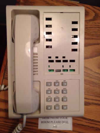 Eagle River Inn & Resort: The buttons are missing, and when you dial 310, you get a speaker phone somewhere in the hotel b