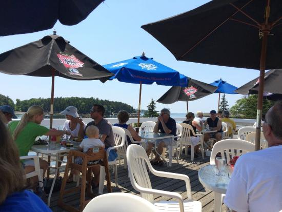 South Bristol, ME: Outside dining overlooking the marina