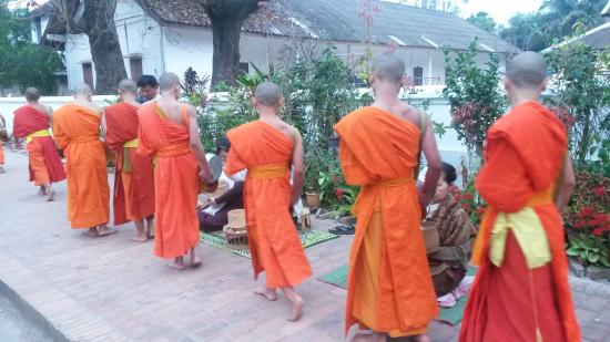 Lao Lu Lodge: Watching the monks at dawn