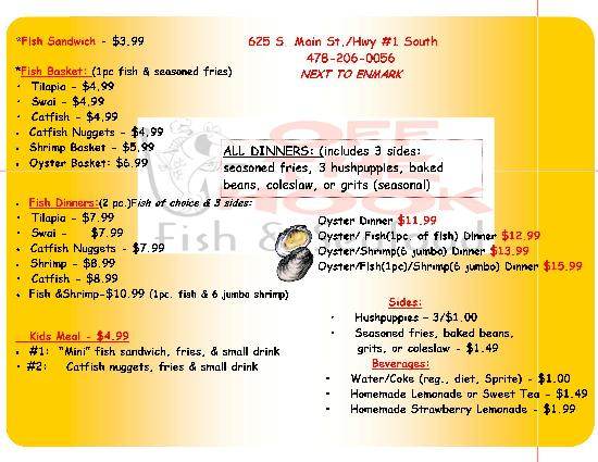 Menu picture of off the hook fish and seafood for Fish and hooks menu