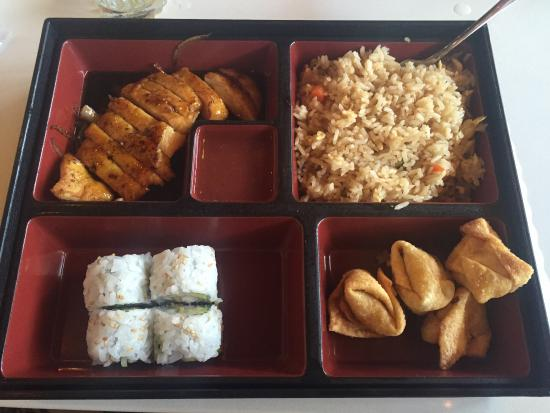 Bento box; teriyaki chicken, wontons, fried rice, shrimp tempura rolls ...