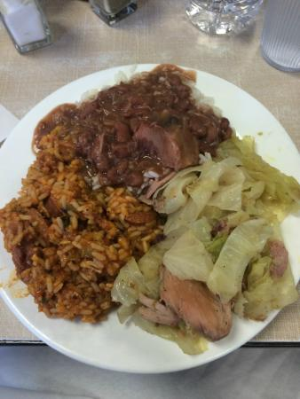 Jambalaya, Cabbage and Red beans and Rice