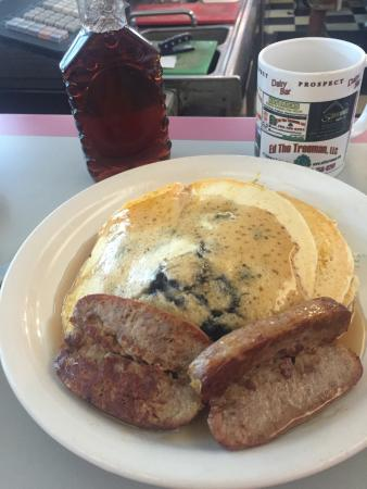 Prospect, CT: Good old fashion blueberry pancakes with sausage.