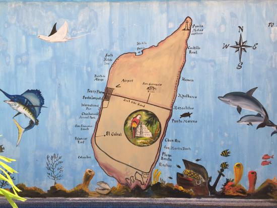 Casita de Maya: Mural on the wall above the pool shows Cozumel geography.