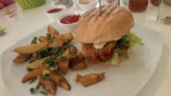 The Green Garden Veggie Burger With Fries Picture Of